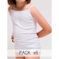 Pack 6 Unds. Camiseta tirante fino para niña de Algodón-elastano. (Ref.2385)