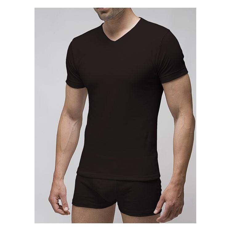 Camiseta interior hombre manga corta cuello pico hombre patrón actual 100% algodón 1x1. (ref.3117)