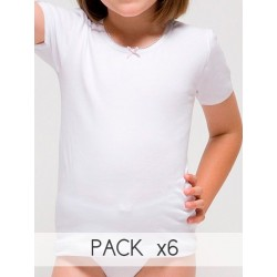 PACK 6 Unds. Camiseta manga corta para niña Algodón-elastano.(Ref: 2388)
