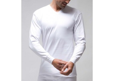 Camiseta interior termal hombre manga larga y cuello en pico100% algodón. (Ref: 731_00)