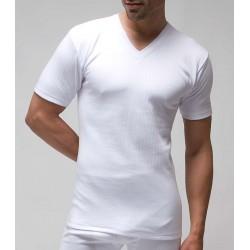 Camiseta interior hombre TERMAL manga corta y cuello pico 100% algodón interlock desagujado felpado. (ref.721)