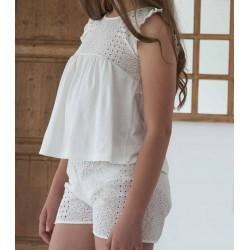 Pijama 2 piezas en punto liso y tela calada 100% algodón
