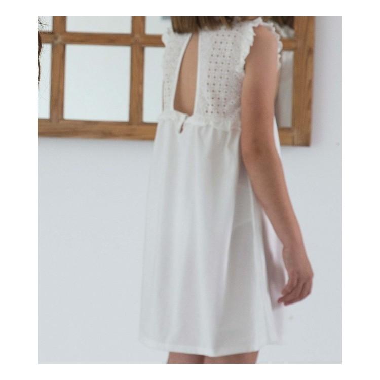 Camisón en punto liso y tela calada 100% algodón