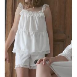 Pijama en punto liso con puntilla decorativa