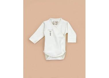 Body cruzado y abrochado delante bebé manga larga algodón orgánico