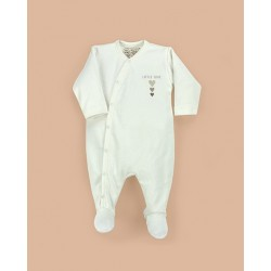 Pelele abrochado delante bebé manga larga algodón orgánico