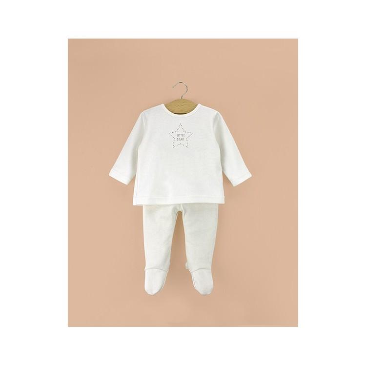 Conjunto dos piezas con pie bebé algodón orgánico