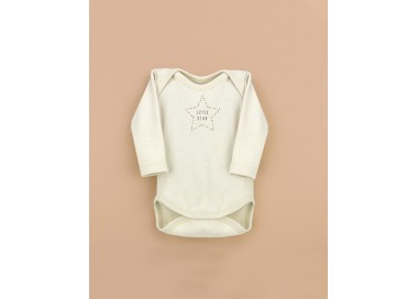 Body cuello americano bebé manga larga algodón orgánico