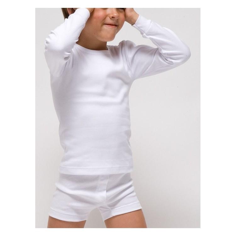 Camiseta infantil TERMAL manga larga 100% algodón en interlock felpado. (Ref:390).