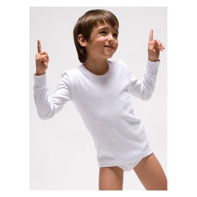 Camiseta infantil TERMAL manga larga interlock desagujado felpado 100% algodón. (Ref: 330)