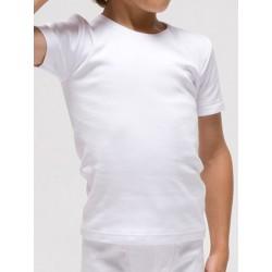 Camiseta infantil térmica manga corta de poliéster en 1x1 felpado. (Ref: 7108)