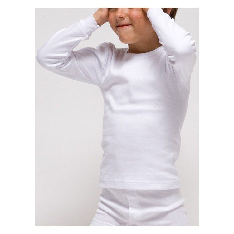 Camiseta infantil TERMAL manga larga de poliéster en 1x1 felpado. (Ref: 7109)