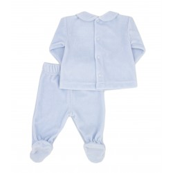 Conjunto dos piezas con pie de algodón tundosado velour bebé Etna