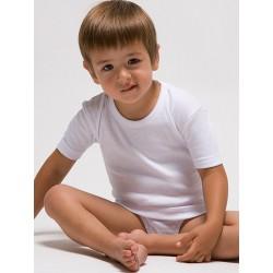 Camiseta interior manga corta infantil 100% algodón en 1x1. (Ref.400)