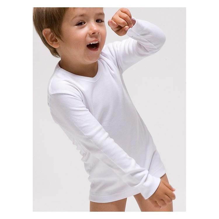 Camiseta interior manga larga infantil 100% algodón en 1x1. (Ref.419)