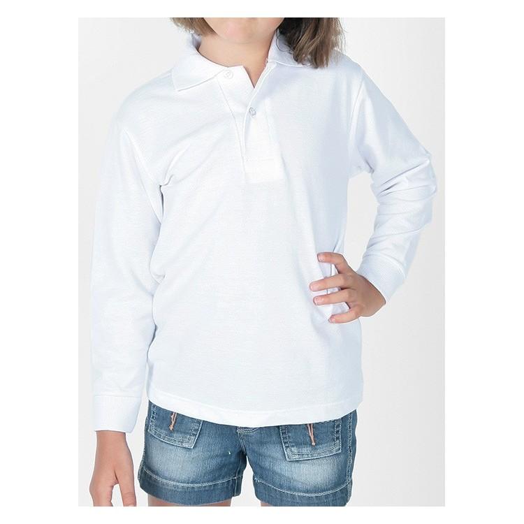 Polo infantil manga larga 100% algodón.